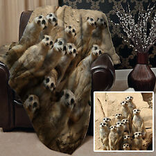 MEERKAT FAMILY DESIGN SOFT PICNIC BLANKET THROW COVER GREAT GIFT IDEA L&S PRINTS