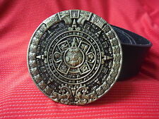 MAYAN MAYA CALENDAR AZTEC ANCIENT ALIENS UFO ALIEN GOD BUCKLE & LEATHER BELT