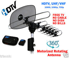 DIGITAL OUTDOOR HDTV 360° MOTORIZED ROTATING AMPLIFIED TV ANTENNA UHF/VHF/FM NEW