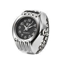 Black Dial Retro Classic Elegant Style Bezel Finger Ring Watch Quartz Lady Girl