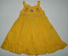 CARTERS girls Bright Yellow EMBROIDERED Ruffled DRESS* 3 6 months