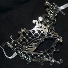 Silver Phantom of the Opera Venetian Metal Filigree Masquerade Mask Diamantes