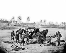 Photo Zouave ambulance crew demonstrating removal of wounded soldiers -1863
