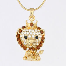 Gold Plated Topaz Crystal Lion King Movable Head Pendant Necklace P868