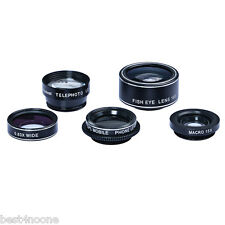 APEXEL 5 in 1 Camera Lens Kit Fisheye Wide Angle Macro for Universal Phone PC