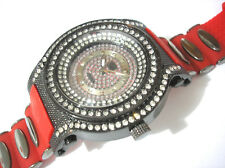 Iced Out Bling Bling Big Case Rubber Band Men's Watch Red / Black Item 3865