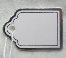100 MINI SMALL BIANCO ARGENTO Swing tag etichette prezzo al dettaglio di gioielli 16x24mm
