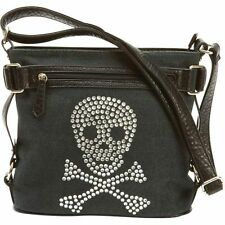 Skull Rhinestone Shoulder Purse, Small Women Clutch Satchel Evening Bag Baguette