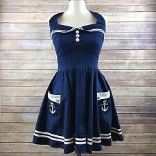 Hell Bunny Vixen Rockabilly Pinup Cosplay Sailor Blue Dress Size Medium