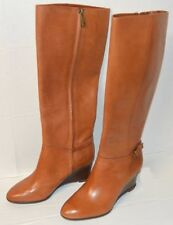 LAUREN RALPH LAUREN Tia Polo Tan Leather WEDGE HIGH BOOTS WOMEN'S 8B EU39 $249