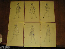 6 Gres Vintage Fashion Stat Sheets 1950 1960 Haute Coutre #C60