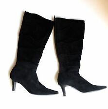 Black Suede Slouch Boots SZ6