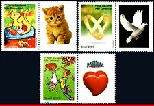 2913-15 BRAZIL 2003 2004 CATS, NOVEL, RINGS, DOVE, HEART,STAMPS PERSONALIZED MNH