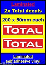 Laminated 2x Total red oil rally race bike sticker decals car van vw truck mini
