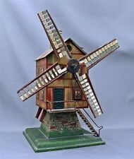 "Antique Tin Lithograph Sand Beach Water Toy Windmill Powerhouse 12"" Tall Nice"