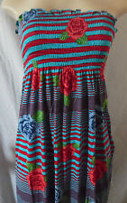 BLUE  RED ROSES STRIPE  SUMMER ELASTIC DRESS MAXI LONG STRAPLESS LARGE