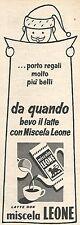 W8785 Latte con miscela LEONE - Pubblicità del 1958 - Vintage advertising