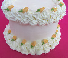 64 Edible Mini Peach Orange  Rosebuds Sugar Icing Cake & Cupcake Topper  Flowers
