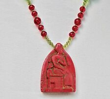Art Deco Necklace Max Neiger Egyptian Revival Czech Glass Beads 1920s Red Green