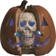"Resin 11.5"" Double Skull Pumpkin LED Screamer with Sound Halloween Decoration"