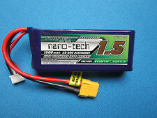 TURNIGY NANO-TECH 1500mAh 3S 25C 50C LIPO BATTERY 11.1v XT60 QAV 250 300 HELI RC