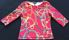 Lauren by Ralph Lauren RL Red Equestrian Print Bit Bridle Horse Tack Shirt Top M