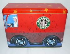 STARBUCKS AROUND THE WORLD COFFEE BUS TIN STORAGE CONTAINER RED EMPTY CAN