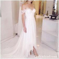 Off Shoulder Chiffon White  High Low Beach Wedding Dress Bridal Gown Custom Made