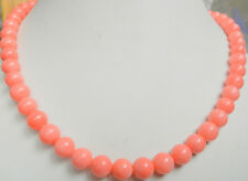 "beautiful 8mm Jewelry Necklace pink coral round beads 18 ""AAA"