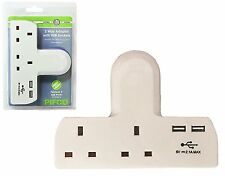 2 Way Gang Extension Multi UK Plug In Mains Socket Adapter USB Port Phone Charge