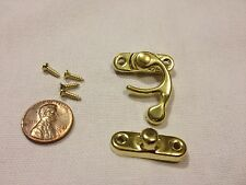 GOLD (M) Latch clasp small mini doll house Antique hook Carved wood box lock c16