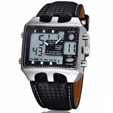 OHSEN Black Dial Analog Digital Quartz Sport ALM Big Face Mens Wrist Band Watch
