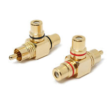 2pcs Gold Plated 1 Male to 2 Female RCA Splitter Adapter AV Video Audio T Plug