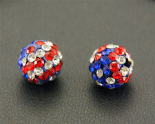 100 Pcs Cz Crystal Shamballa Beads Pave Disco Balls American flag New 10MM