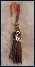 WITCHES ALTAR MINI BESOM BROOM WITH A WITCH CHARM ~ Good Luck. Prosperity