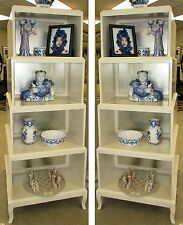 10333-401: 2 BERNHARDT Alabaster White & Silver Salon Etageres or Bookcases