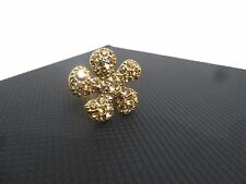 Pilgrim Jewelry Brass Toned Crystal  Adjustable Single Flower Ring: 394504