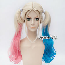 Long Blonde Pink Blue Mixed Curly Wig For Harley Quinn Cosplay + 2 Ponytails