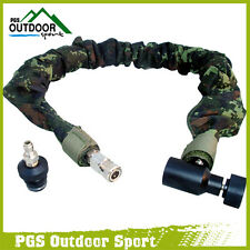 Paintball Remote Hose Coiled Hose Line w/QD & Digital Camo Cover Exend length 4m
