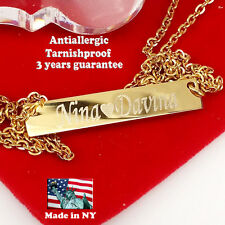 Custom Personalize Bar Necklace Gold or Silver Plated Free Engraving Any Name