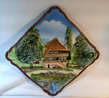 Vintage Majolica Western Germany Square Diamond Wall Decor Plate Landscape