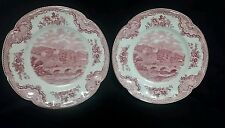 "2 JOHNSON BROTHERS OLD BRITAIN CASTLES PINK/RED 6 1/4"" BREAD PLATES Haddon Hall"