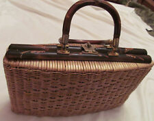 vintage woven tiki large etched carved bamboo wooden hand bag purse  WOW