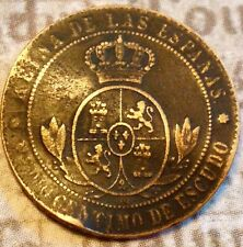 PIRATE COIN old Vintage Antique Spanish Coin Isabel II Treasure Chest Rare