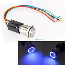 19mm 12V Car Blue LED Angel Eye Metal Push Button Toggle Switch ON/OFF Socket TR