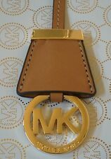 NEW MICHAEL KORS GOLD MK LOGO CHARM WITH ACORN BROWN GENUINE LEATHER STRAP FOB