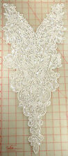 Extraordinary white beaded extra large applique with clear sequins bridal 23x10""