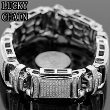 "MEN`S STAINLESS STEEL ICED OUT CZ PAVE SILVER BRACELET/8.8""/107g/PC9"