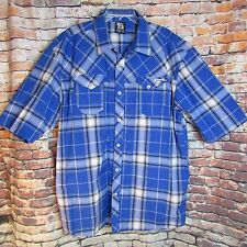 Enyce Clothing Mens Button Front Long Sleeve Cotton Blue Plaid Logo Shirt 4X 4XL