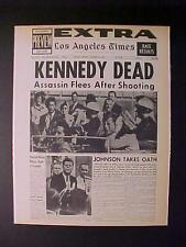 VINTAGE NEWSPAPER HEADLINE ~US PRESIDENT JOHN KENNEDY KILLED GUN SHOT JFK DEAD
